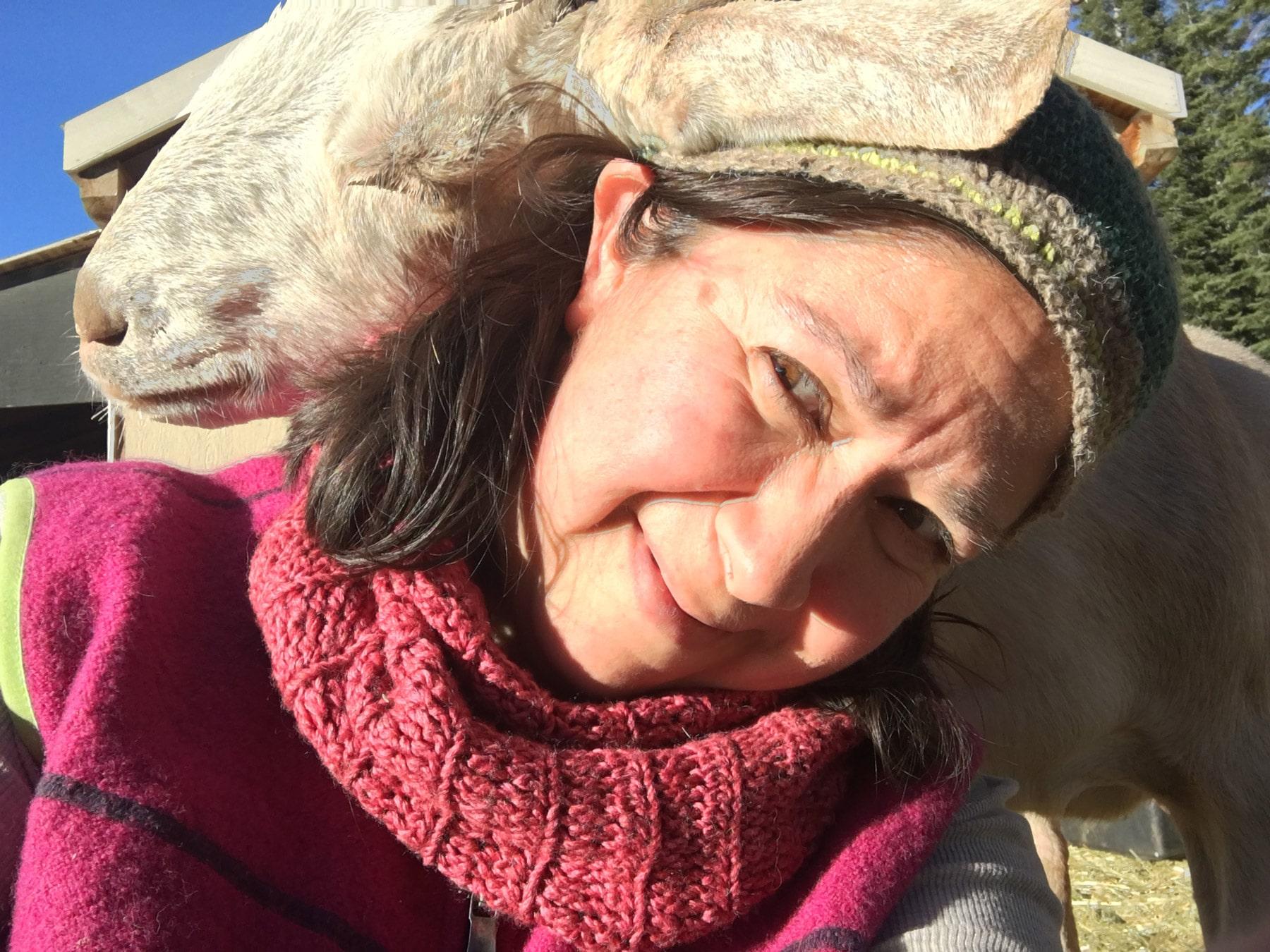 Ylara Khlasa with Honey the goat